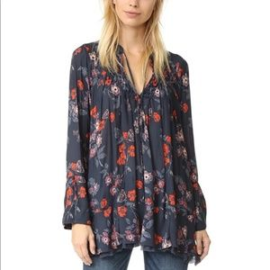 Free People Chiffon Smocked Floral Printed Tunic